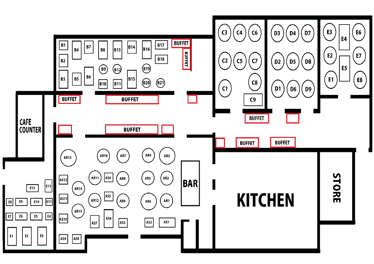 Restaurant layout samundar for Restaurant layout